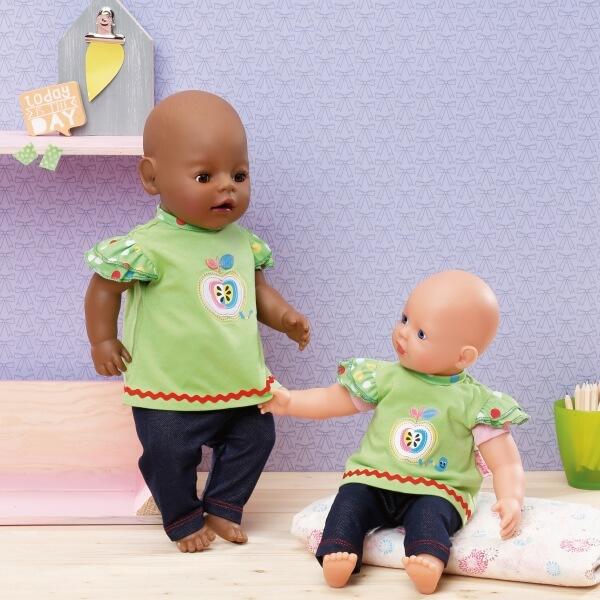 Größe 30-36cm, Zapf BABY born® Kleider Kollektion Dolly Moda Shirt mit Hose Babypuppen & Zubehör